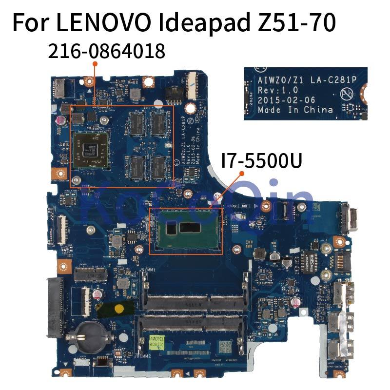 KoCoQin AIWZ0/Z1 LA-C281P Laptop motherboard For LENOVO Ideapad Z51-70 I7-5500U R7 M360 MMainboard 5B20J23786 SR23W 216-0864018