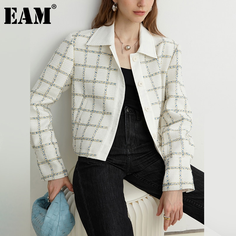 [EAM] فضفاضة تناسب الأبيض منقوشة سترة قصيرة غير رسمية جديدة التلبيب كم طويل المرأة معطف الموضة المد الربيع الخريف 2021 1DE1891