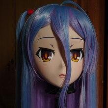 (C2-014) Handmade Female Full Head Kigurumi Mask with Purple/Blue Hair Cosplay Kigurumi Crossdresser Halloween Fetish Masks