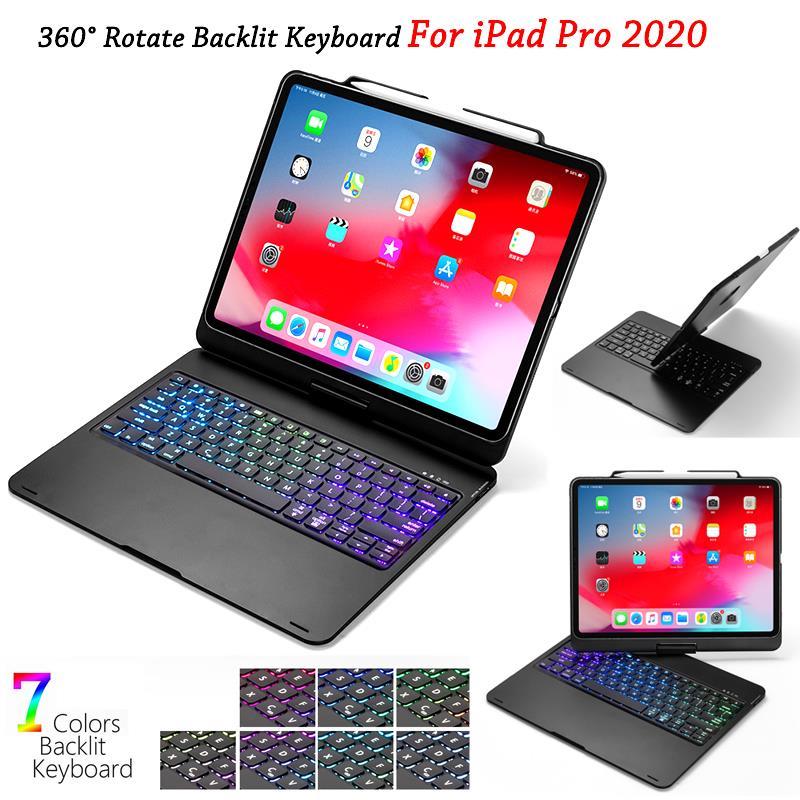 Para iPad Pro 12,9 11 2020 funda con teclado 7 colores retroiluminado teclado giratorio Bluetooth para tableta iPad Pro 12 9 funda para teclado