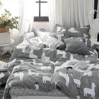 llama Alpaca Flamingo 4pcs Girl Boy Kid Bed Cover Set Duvet Cover Adult Child Bed Sheets Pillowcases Comforter Bedding Set 61024