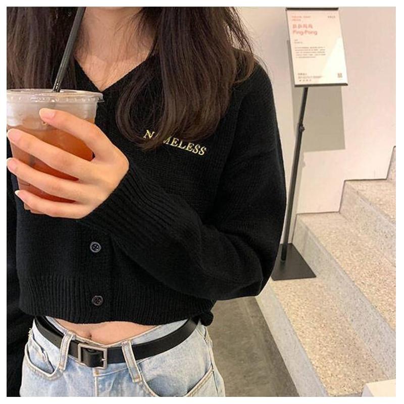 3 colores, estilo coreano primavera otoño v cuello corto Cardigan suéter abrigo mujer prendas de vestir de punto manga larga tops BB564