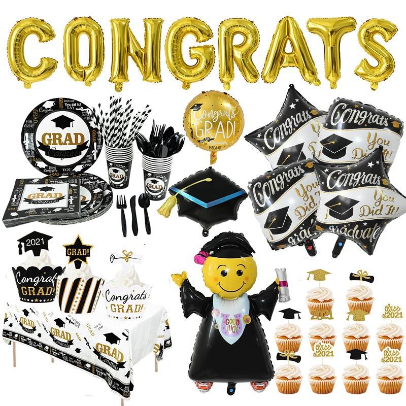 Выпускные украшения сувениры воздушные шары на выпускной баннер фото стенд реквизит кекс Toppers класс 2020 вечерние принадлежности для посуды