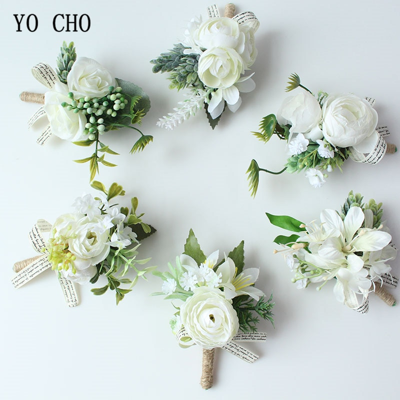 yo-cho-men-boutonniere-buttonhole-rose-brooch-bride-wedding-wrist-corsage-bracelet-groom-ceremony-flower-party-meeting-decor