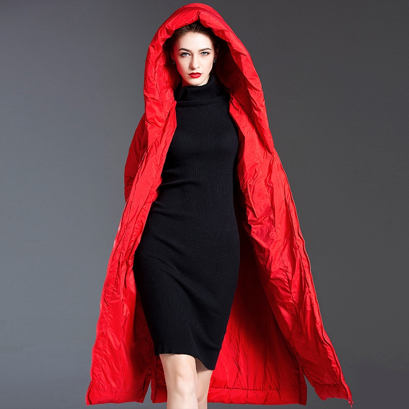 Women down coats luxury autumn winter warm fashion 90% white duck Jackets Female lady long puffer down jacket hooded red