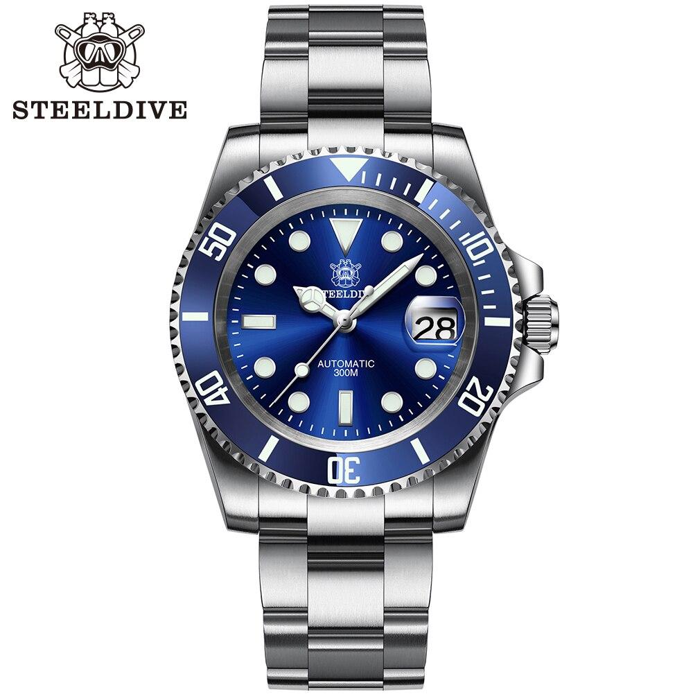 Relógio de Mergulho Safira dos Homens Nh35 com Vidro Inoxidável Mecânico Steeldive Relógios Mostrador Azul Luminoso Sd1953 Aço
