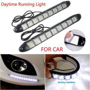 2Pcs Ultrafine Daytime Running Light Flexible Soft Tube Guide Car LED Light Strip White Red Turn Signal Super Bright Waterproof