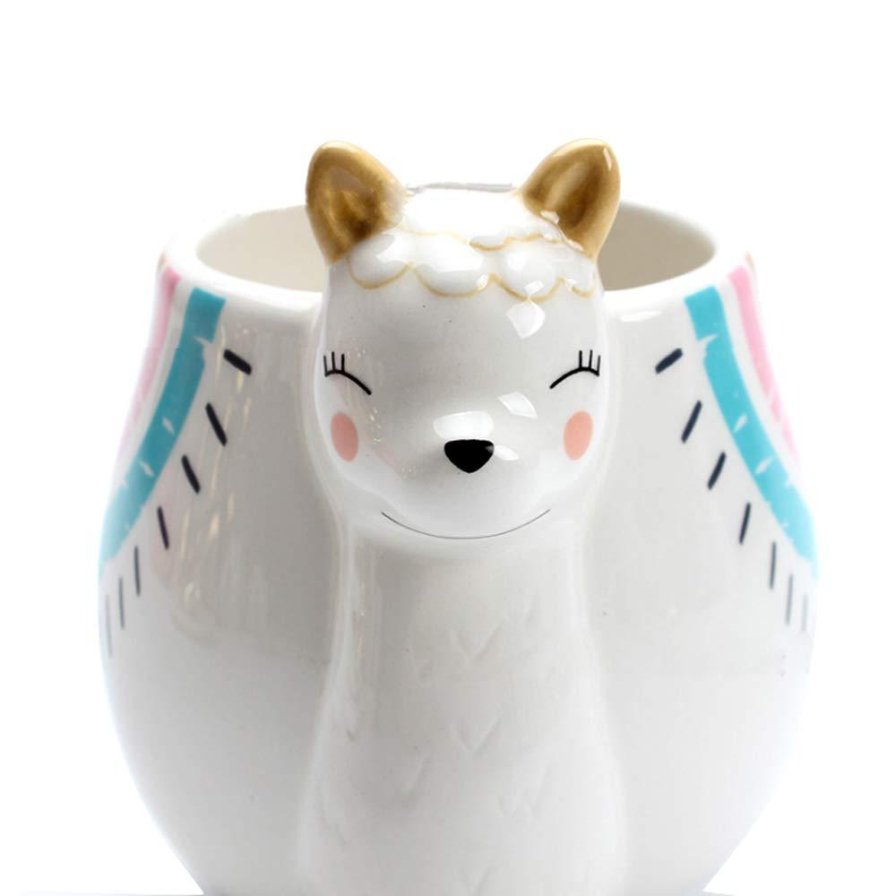 450ML lindo dibujo de alpaca gran barriga Taza de cerámica animal taza jarra para agua macho y hembra pareja tazas de leche y tazas de café divertida