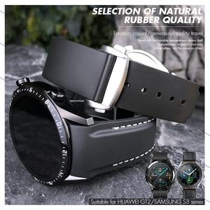 20mm  22mm Rubber Watch Strap Black Orange Watch Band for HuaWei GT2 Samsung Galaxy S3 Omega Seamaster Seiko Longines Bracelet