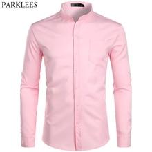 Hommes à bandes col rose robe Chemise 2019 flambant neuf à manches longues décontracté bouton vers le bas Chemise travail décontracté Chemise avec une poche 2XL