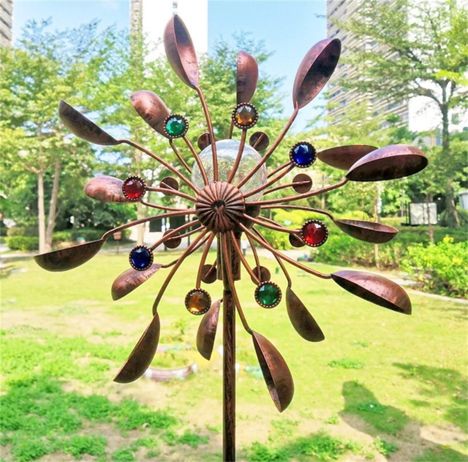 Grand Métal Lumière Solaire Vent Spinner LED Extérieure de Pelouse de Jardin Sculpture Décor Vent Spinner Sans Rouille Moulin à vent