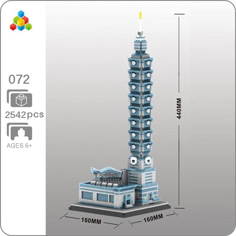 YZ 072 World Architecture Taipei 101 Building Financial Center 3D Model DIY Mini Building Diamond Blocks Toy for Children no Box