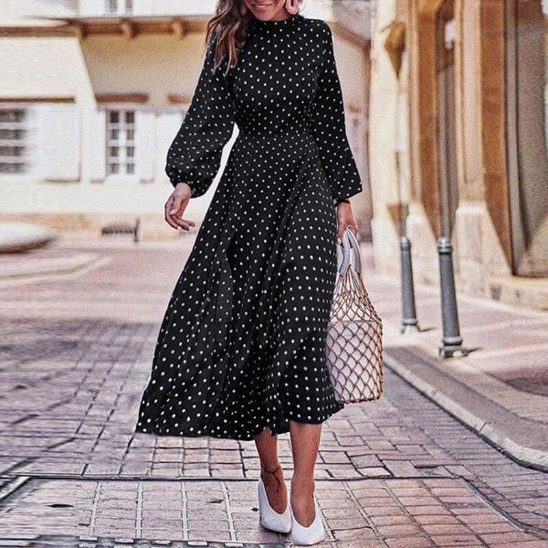 Новинка 2021, женское весенне-осеннее длинное платье в горошек с круглым воротником, асимметричное платье с поясом, женское молодежное платье в молодежном стиле