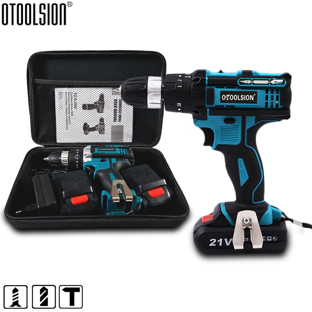 2 Speed 21V Impact Drill Impact Screwdriver Electric Wireless Power Tools Lithium-Ion Battery For Dr