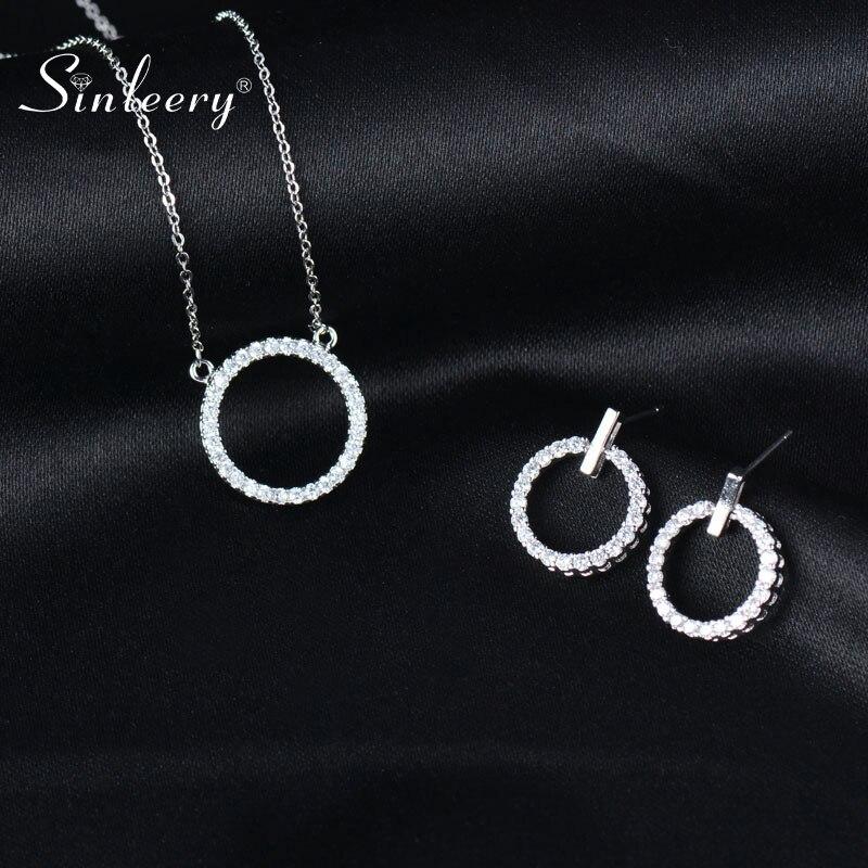 Sinleery conjuntos de jóias de casamento de cristal de luxo cor prata oco redondo pingente colar brinco conjunto para mulher tz237 ssp