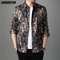 top quality new style fashion designer flower brand slim fit men floral shirt trendy korean long sleeve casual men clothing 2021