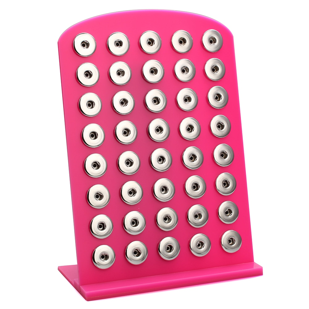 8 colores Snap Jewelry alta calidad Rosa negro acrílico Snap Display para 40 Uds 18mm botones de Metal Snap Soft Display Stand ZK003