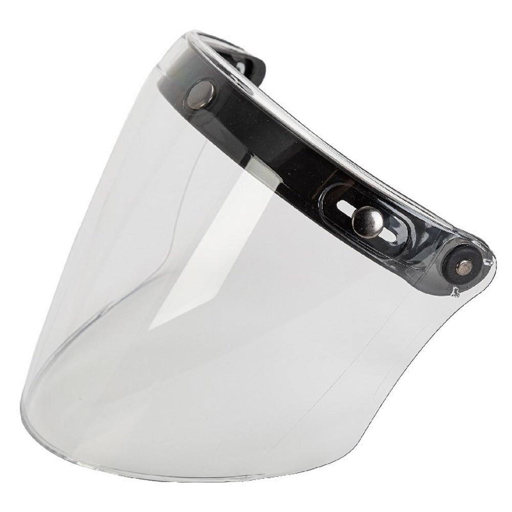 العالمي للدراجات النارية خوذة قناع عدسة العامة 3 زر أقنعة مرآة نظارات درع دراجة نارية خوذة مستقيم الزجاج الأمامي عدسة