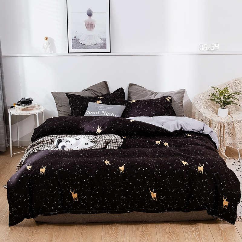 Juego de ropa de cama de edredón, Textiles para el hogar de ciervos de Navidad, ropa de cama, colcha nórdica, Sábana doble, fundas de almohada para adultos