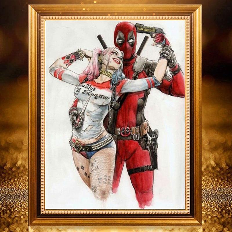 Bordado de diamantes 5d, Deadpool, amor, Harley Quinn, mosaico de diamantes, punto de cruz, pintura de diamantes de superhéroe, diamantes de imitación de costura