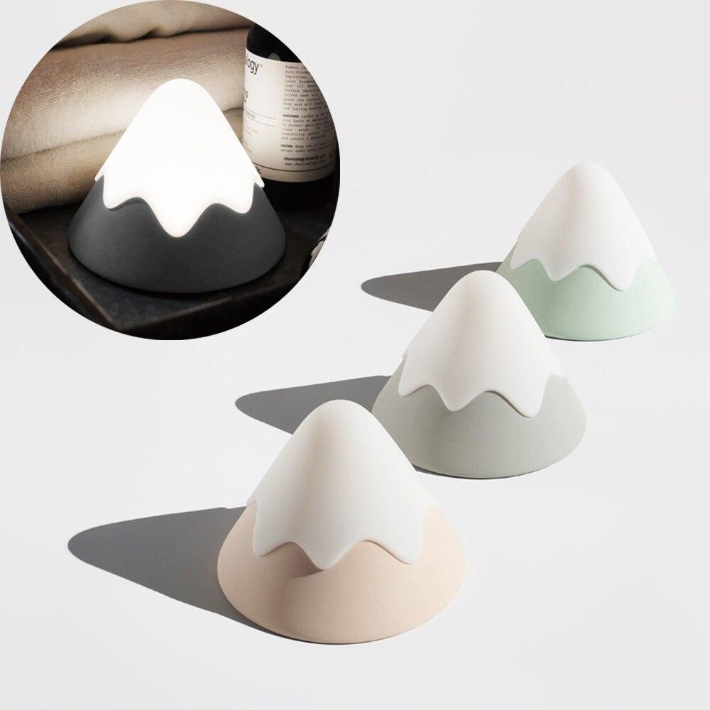 LED الثلوج الجبلية مصابيح الإبداعية نوم السرير التحكم الصوتي شحن مصباح لتهيئة الجو قابل للتعديل حماية العين أضواء ليلية