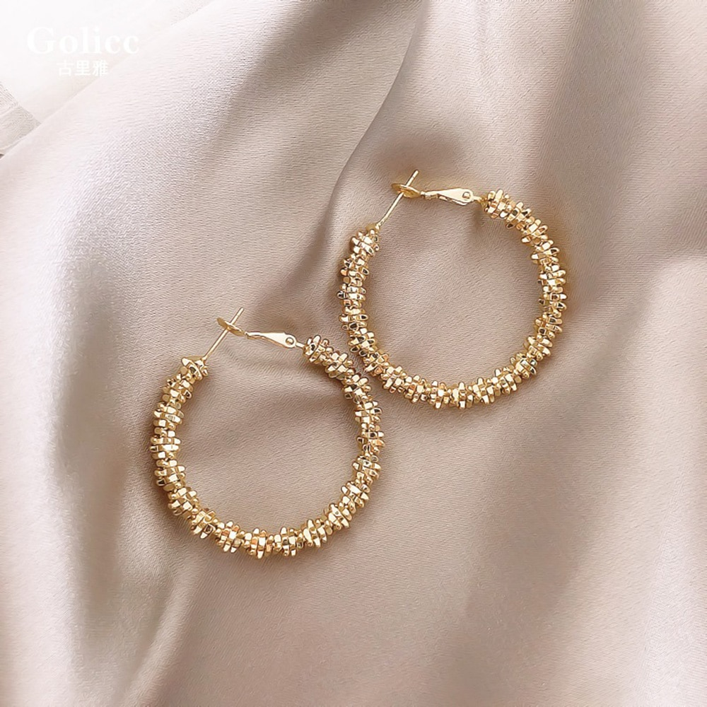 Moda feminina brincos geométricos grande círculo de metal anel de orelha menina personalidade popular brincos jóias acessórios para mulher