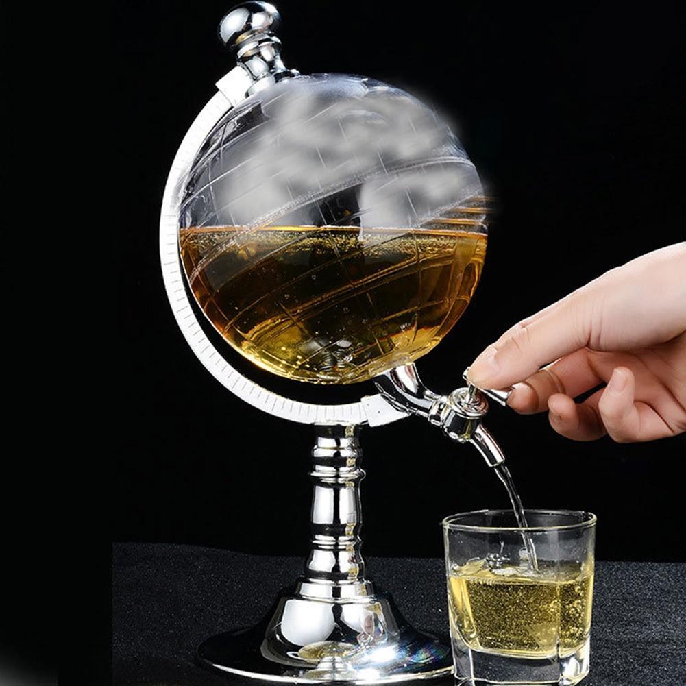 Whiskey Decanter Set Globe Dispenser Transparent Glass Liquor Wine Drinks Juices Dispenser Western Restaurant Bar Glass Cup