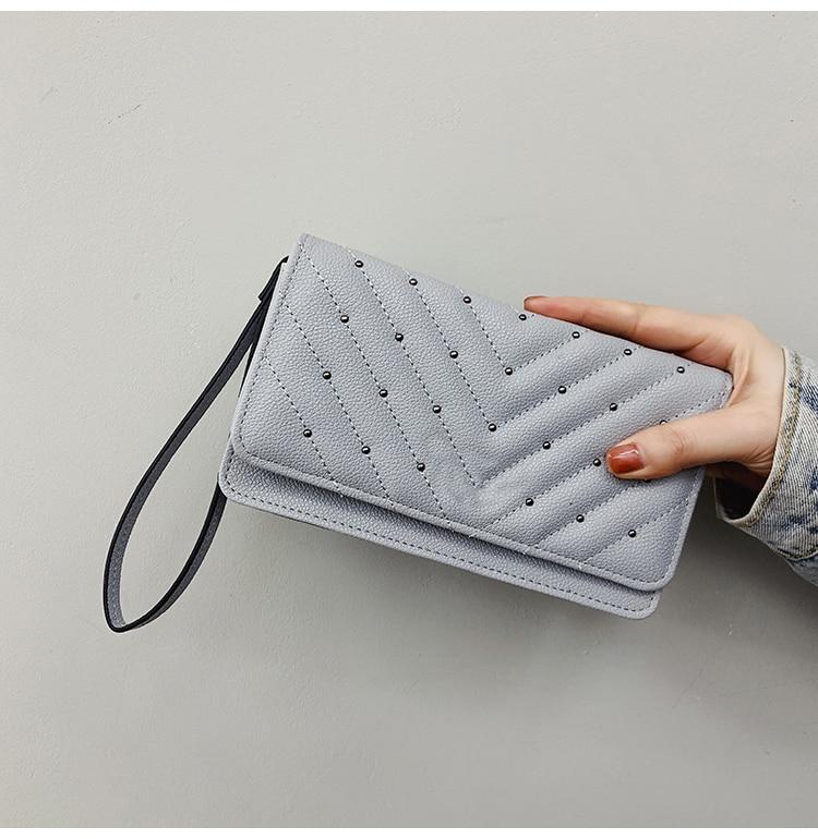 Luxury Designer Clutch Bag Wrist Leather Handags Phone Pocket Zipper Purse Coin Holder Bag-Clutch
