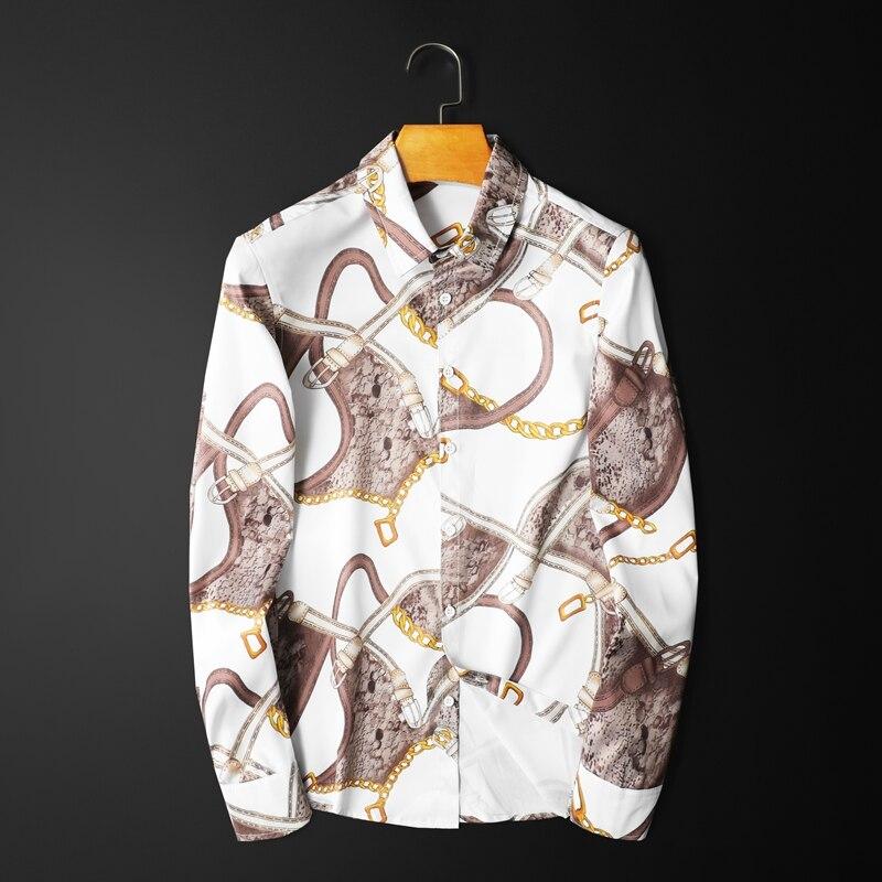 قميص رجالي مطبوع بحزام سلسلة مفاتيح ، قميص ضيق غير رسمي ، مقاس كبير 5xl ، قميص نادي بأزرار ، 2020