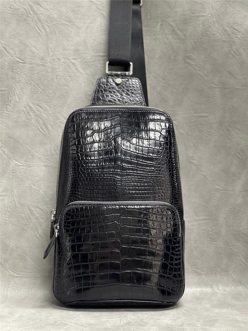 أصيلة الغريبة التمساح البطن الجلد الرجال حقيبة صدر للرجال حقيبة ساعي حقيقية حقيقية جلد التمساح الذكور حقيبة كروسبودي
