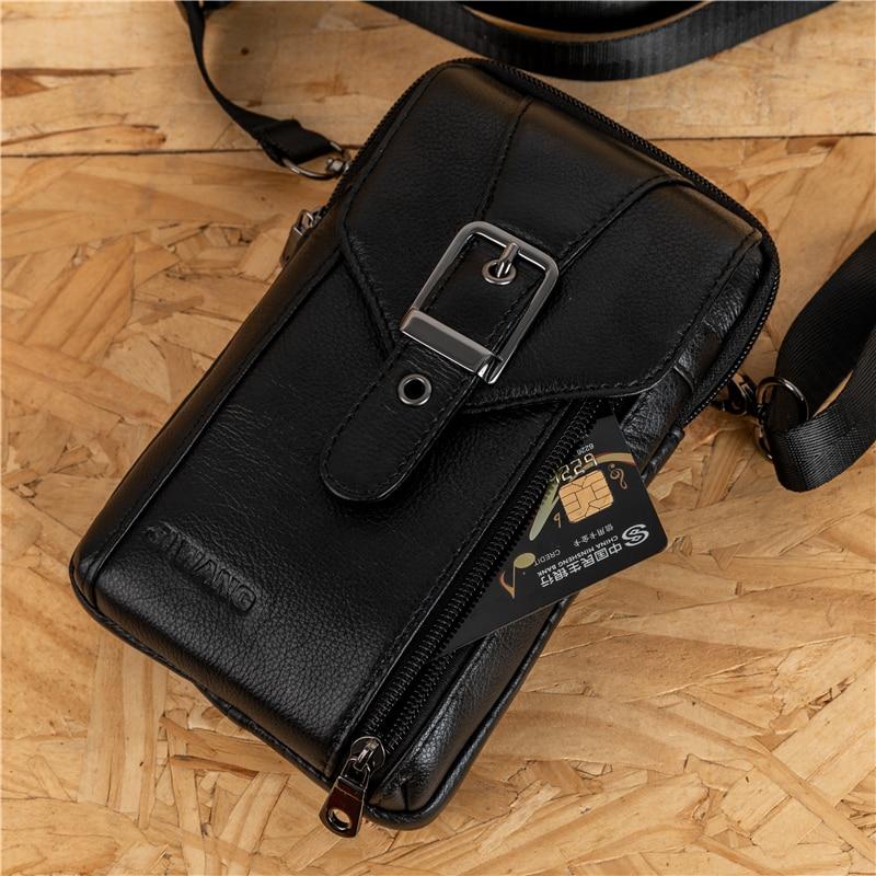 Bolso mensajero de cuero genuino para hombre, bolsos de hombro tipo bandolera de moda para hombre pequeño, bolsos de viaje para hombre, bolsos de cinturón para teléfono móvil