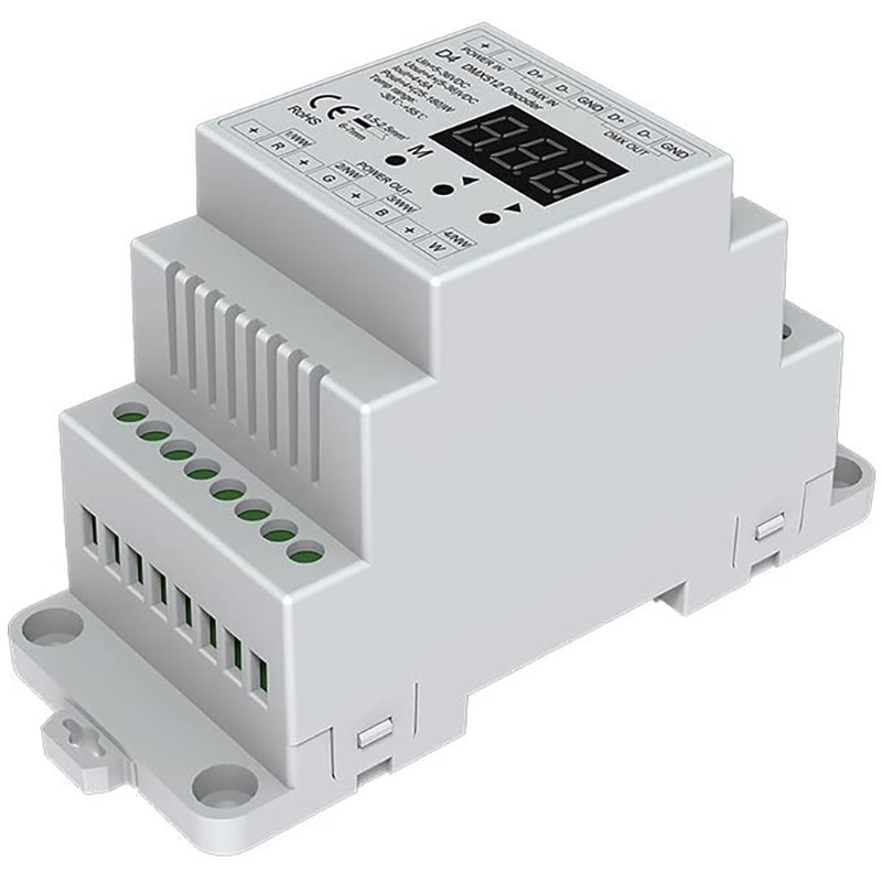 4CH الجهد المستمر DMX512 فك RGB/RGBW تحكم Din السكك الحديدية شنت 4 قناة يعتم تحكم 5-36VDC