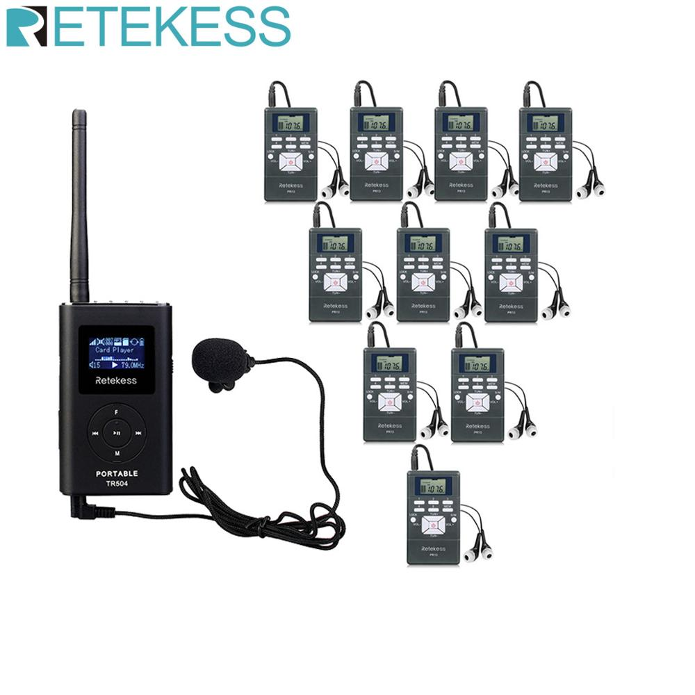 RETEKESS 0,6 W 1 transmisor FM TR504 + 10 receptor de Radio FM PR13 sistema de guía de viaje inalámbrico para guía de reunión de Iglesia