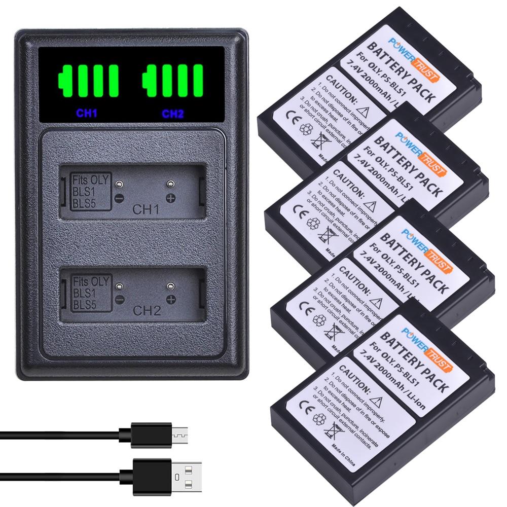 2000mAh BLS-1 BLS1 Battery and Charger for Olympus PS-BLS1 PEN E-PL1 E-PM1 EP3 EPL3 Evolt E-420 E-620 E-450 Digital SLR Cameras