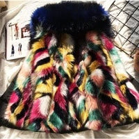 new fashion winter parka womens coat faux fox fur coat colorful warm removable womens jacket outwear down jacket female