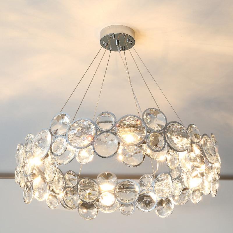 الحديثة غرفة المعيشة الثريات الكريستال مستديرة الكروم مصباح معلق المعلقة غرفة الطعام الإضاءة led أضواء غرفة نوم الديكور