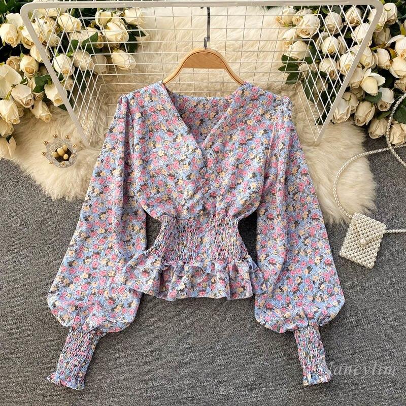 Retro Short Blouse Floral Shirt Sweet Ruffled Hem Cross V-neck Long Lantern Sleeve Elastic Waist Slim Fit Lady Tops Blusas v placket curved dip hem blouse
