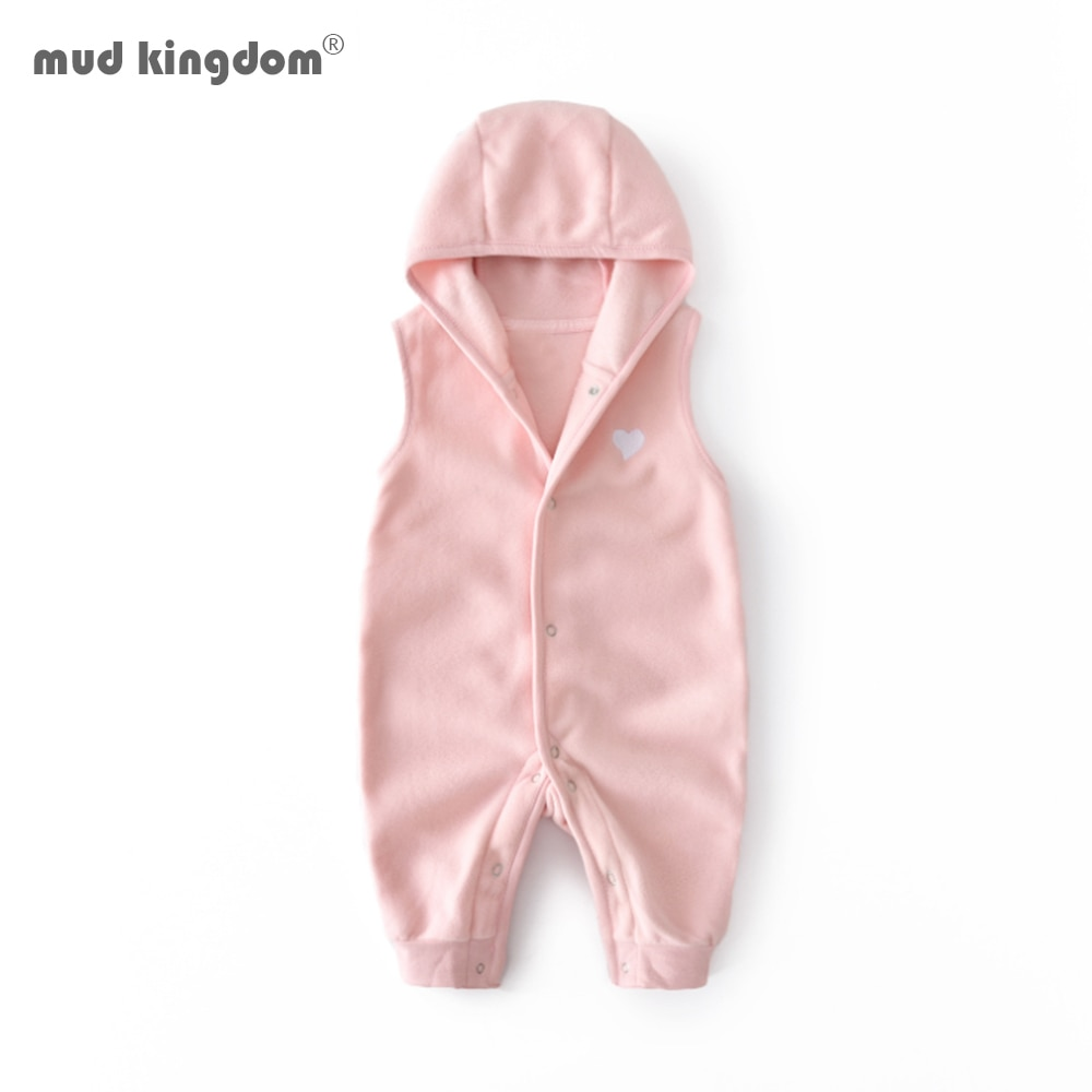 Mudkingdom Baby Boys Girls Rompers Autumn Sleeveless Solid Children Clothing Hooded Warm Crawl Jumpsuit Kids Clothes