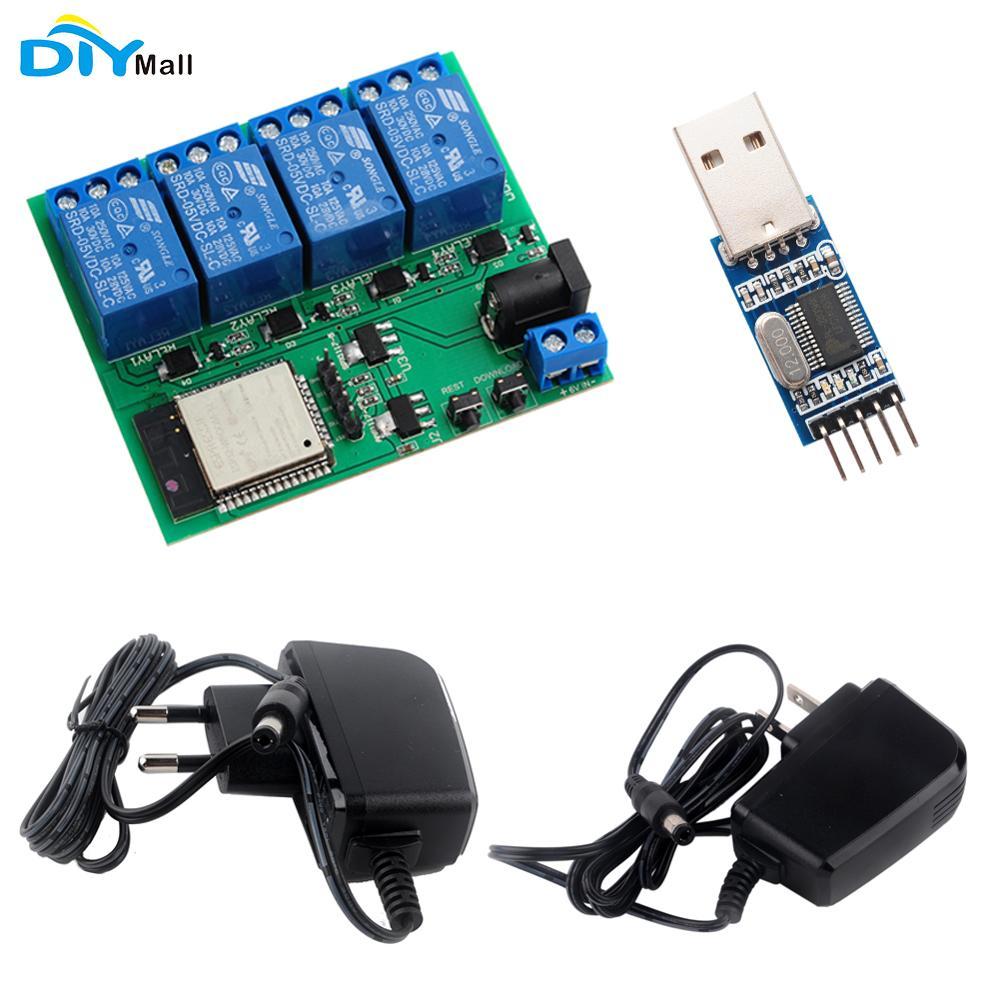 Módulo de relé con Wifi y Bluetooth de 4 canales ESP32, fuente de alimentación EU CE, cargador con adaptador UL, módulo convertidor USB a TTL para android ios
