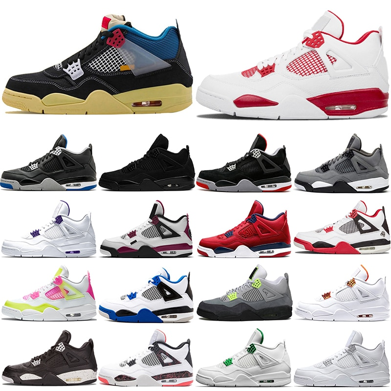 Wholesale jumpman Basketball Shoes 4s Men Oreo Pale Pine Green Pure Money Travis Fiba Fire Red Outdoor Sports Sneakers Us 7-12