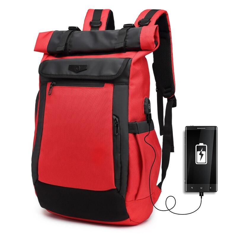 OZUKO-حقيبة ظهر للكمبيوتر المحمول مقاس 15.6 بوصة للرجال ، حقيبة ظهر مدرسية للمراهقين ، حقيبة سفر أكسفورد مقاومة للماء ، مع منفذ USB ، Mochila