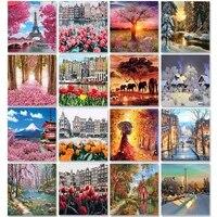 Quatre Saisons Paysages PEINTURE A LA MAIN Par Numeros Sur Toile Huile Photos Pour Adultes Acrylique Coloriage Par Numero Cadre Decoration De La Maison