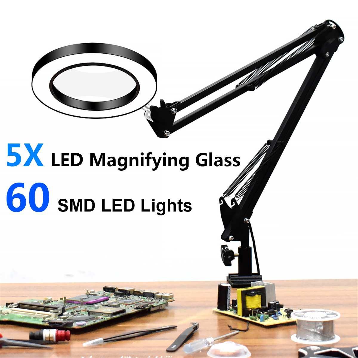 8W USB LED 3 ألوان الجدول مصباح يعتم مكتب القراءة ضوء 60 SMD LED أضواء مع 5X كبيرة المكبرة الزجاج المكبر مسمار الجمال