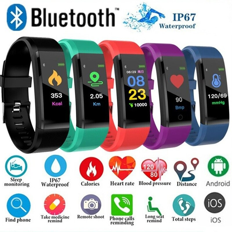Pulsera inteligente 115 Plus, reloj inteligente con Bluetooth, Monitor de salud, reloj deportivo inteligente, pulsera con podómetro IP65, pulsera inteligente resistente al agua