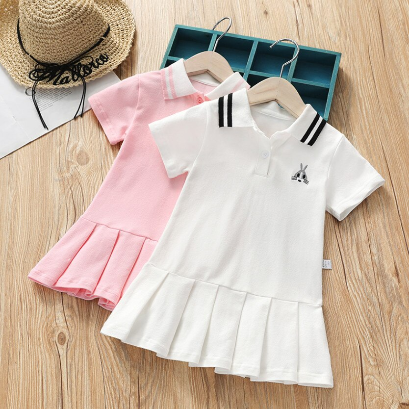 Vestido tutú de verano para niñas vestidos ropa de niños moda de manga corta bebé niña vestido de tenis niños infantil traje deportivo 1 -10T