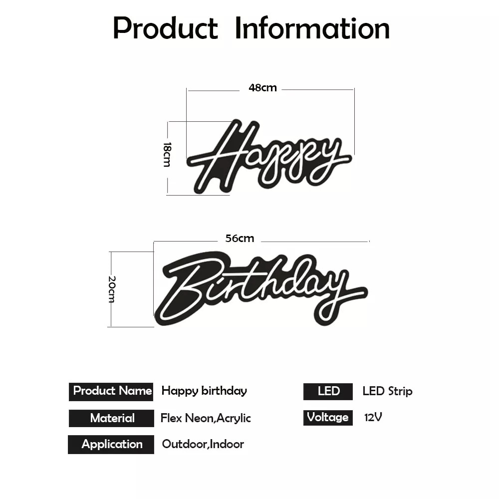 Custom 22''x 16'' Happy Birthday Led Flex Transparent Acrylic Neon Sign Light Letter Board Party Background Wall Decor Lights enlarge