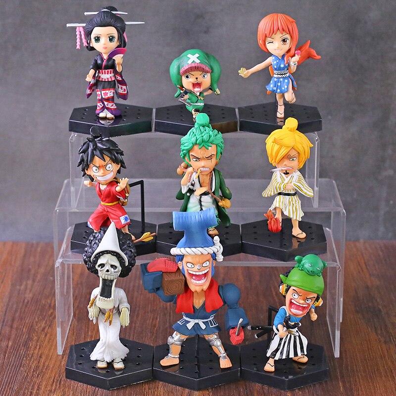 One Piece Luffy Zoro Sanji Usopp Nami Robin Brook Chopper Franky Wano Country Kimono Ver. Figuras de juguete, 9 unids/set