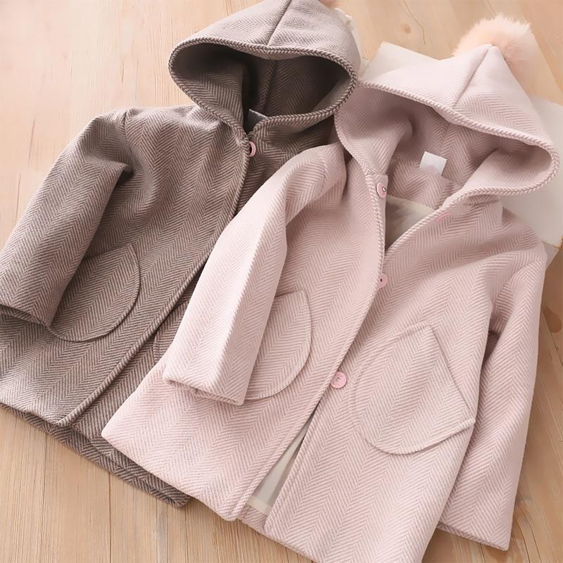 Зимние куртки для девочек с капюшоном с меховыми помпонами для шерсть детская одежда От 3 до 7 лет для детей ясельного возраста детская верхн...