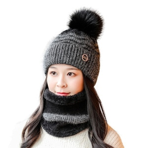 Autumn Winter Hats For Women Baggy Caps Scarf Solid Rabbit Fur Warm Beanie Knitted Woolen Beanies Adult Casual Hats Skullies