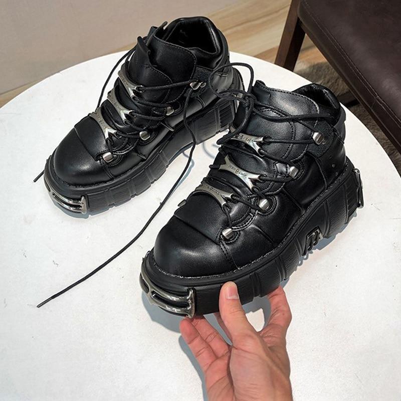 حذاء رياضي برباط 6 سنتيمتر للرجال والنساء ، حذاء رياضي بنعل سميك ، حذاء كاجوال مسطح ، زخرفة معدنية ، نمط بانك ، 2021